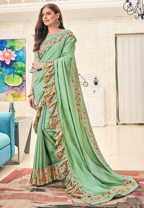 Digital Printed Ruffled Art Silk Saree in Sea Green