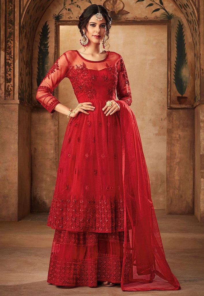 Embroidered Net Pakistani Suit in Red