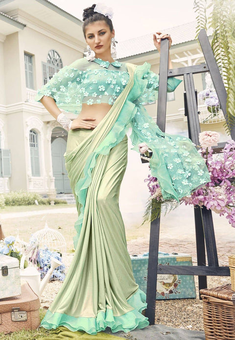 Embellished Lycra Ruffled Saree in Pastel Green