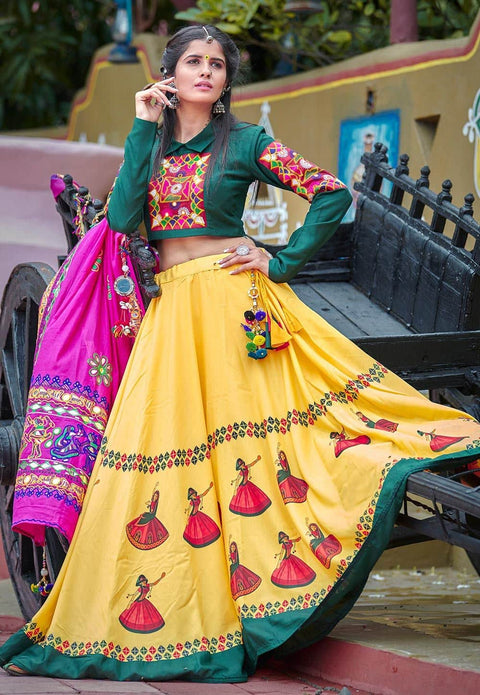 Navaratri Special Cotton Lehenga in Yellow