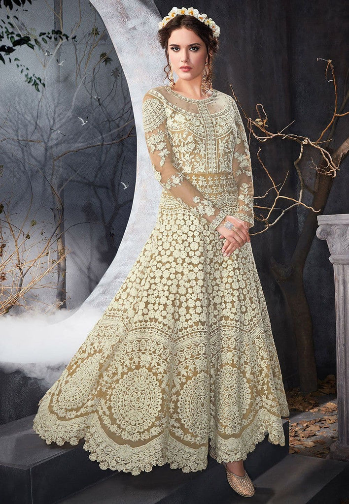 Embroidered Net Abaya Style Suit in Light Beige and White