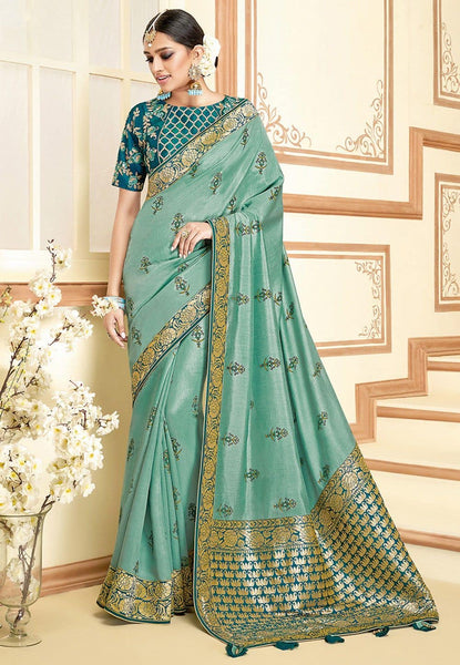 Printed Art Silk Saree in Dusty Green