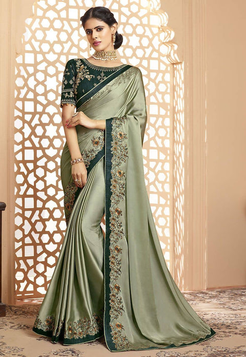 Embroidered Border Satin Georgette Saree in Dusty Green