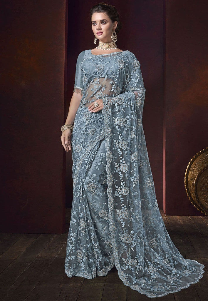 Embroidered Net Scalloped Saree in Sky Blue
