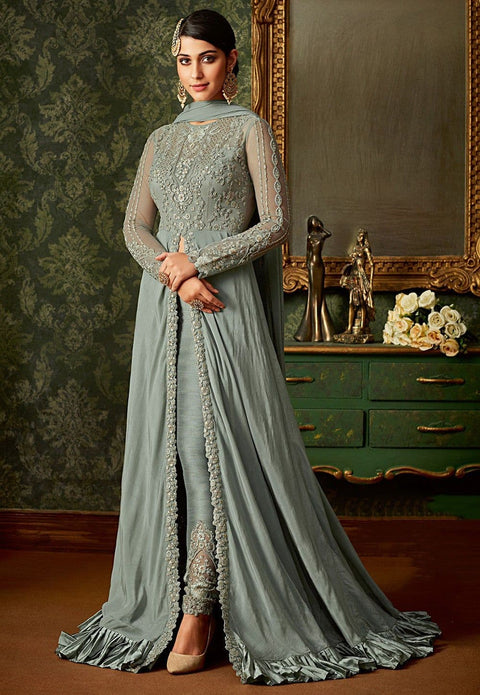 Embroidered Art Silk and Net Abaya Style Suit in Light Grey