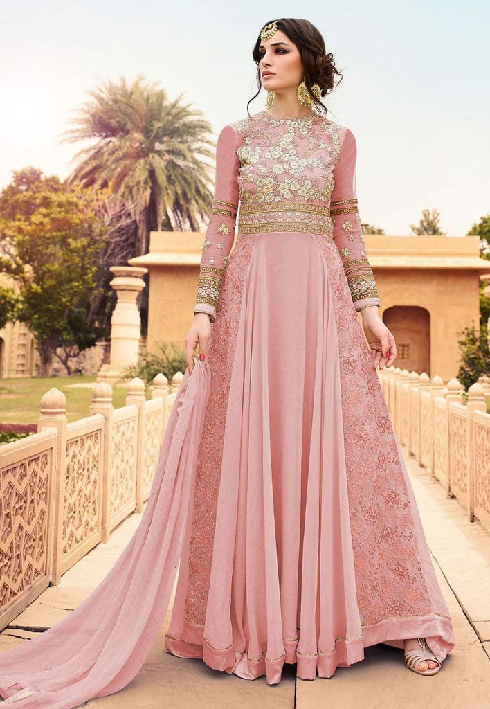Embroidered Georgette and Net Abaya Style Suit in Baby Pink