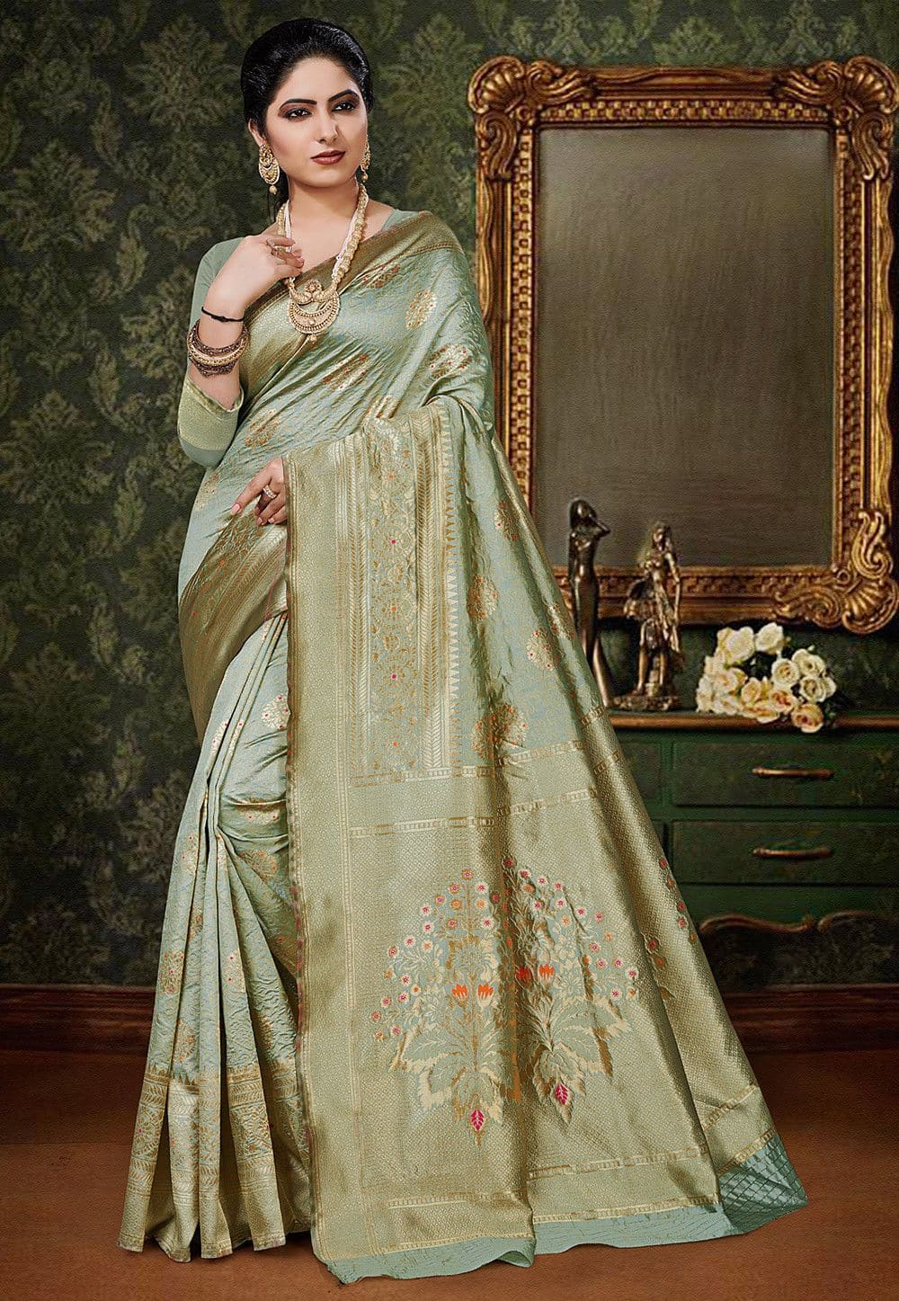 Woven Art Silk Saree in Dusty Green
