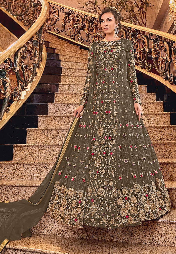 Embroidered Net Abaya Style Suit in Dark Grey