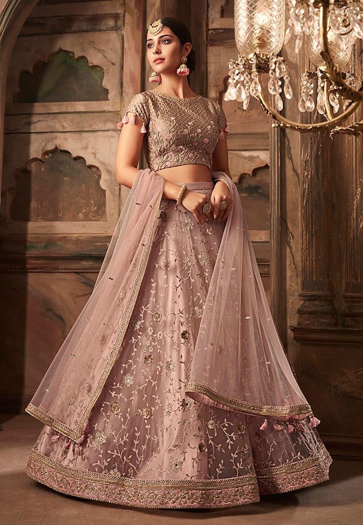 Embroidered Net Lehenga in Dusty Pink