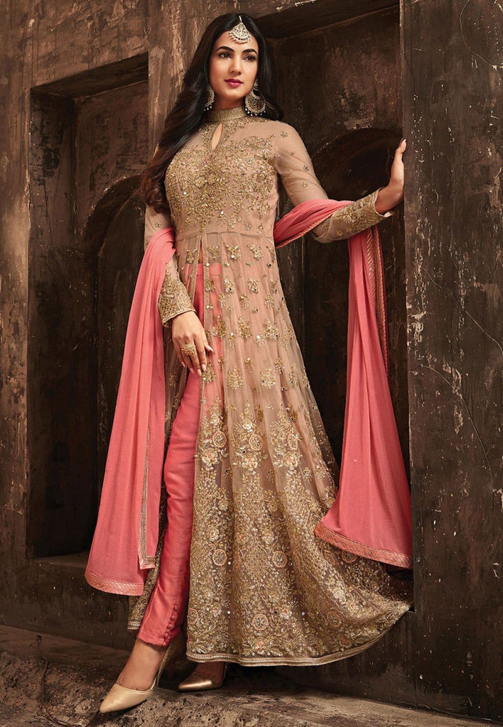 Embroidered Net Abaya Style Suit in Light Rose Gold