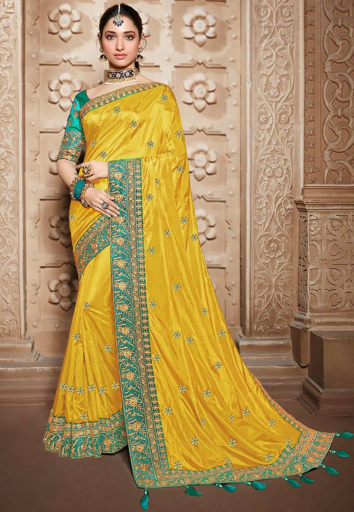Embroidered Art Silk Saree in Yellow