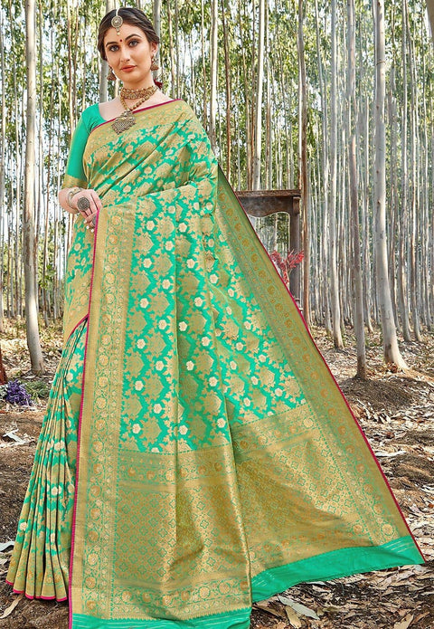 Banarasi Saree in Teal Green
