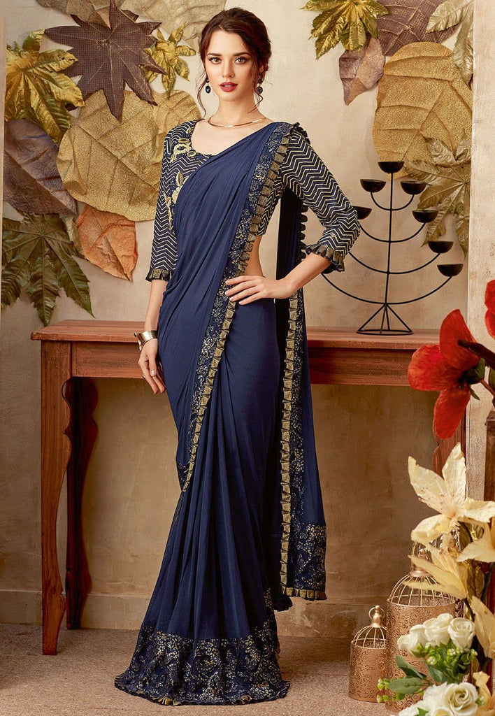 Butterfly Pallu Lycra Saree in Navy Blue