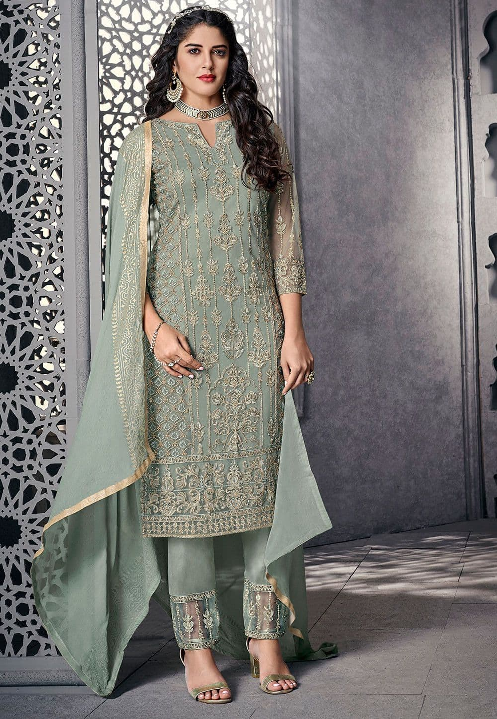 Embroidered Net Pakistani Suit in Dusty Green