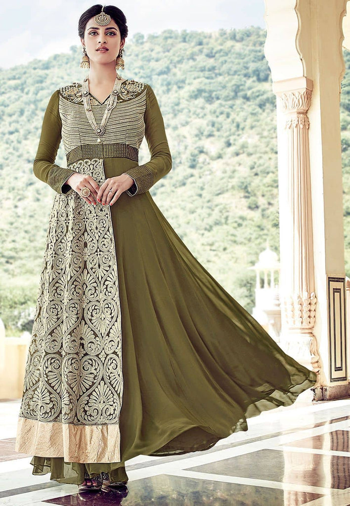 Embroidered Georgette Abaya Style Suit in Olive Green