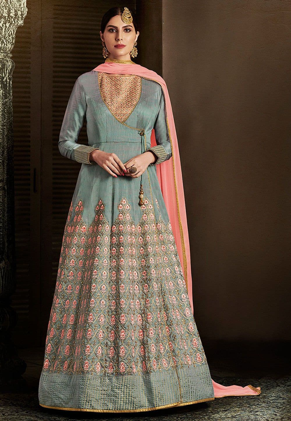 Embroidered Art Silk Abaya Style Suit in Dusty Blue