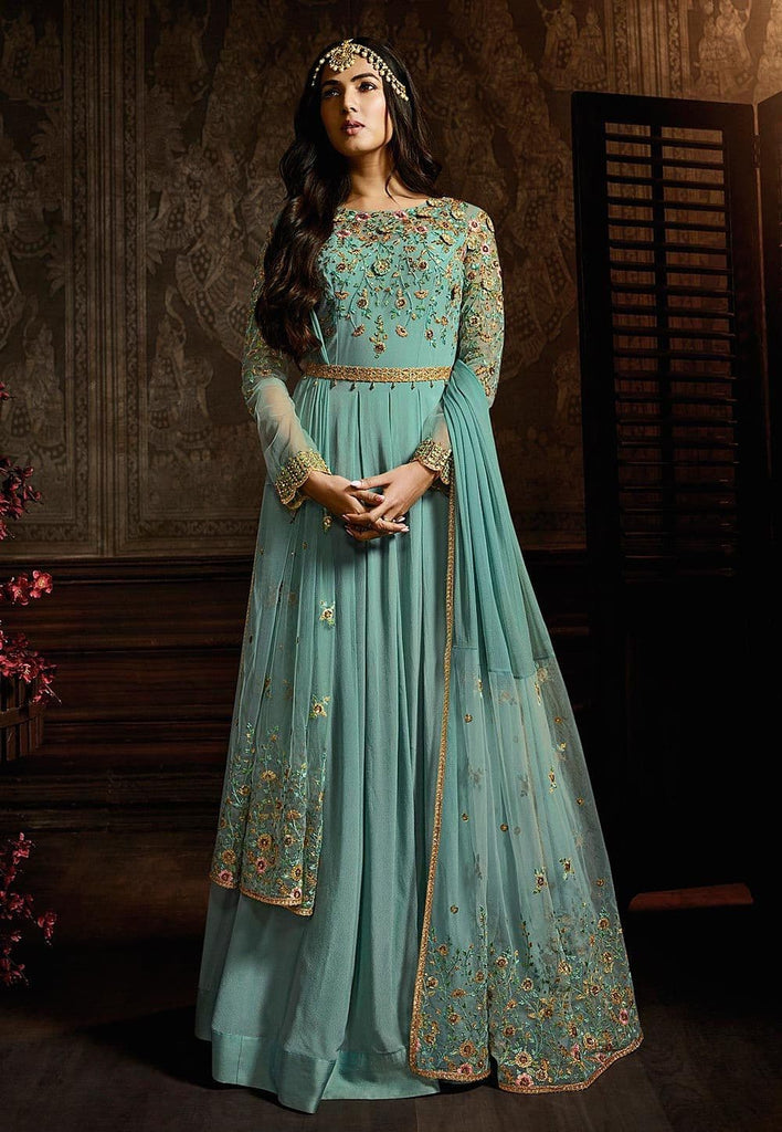 Embroidered Georgette Abaya Style Suit in Light Blue