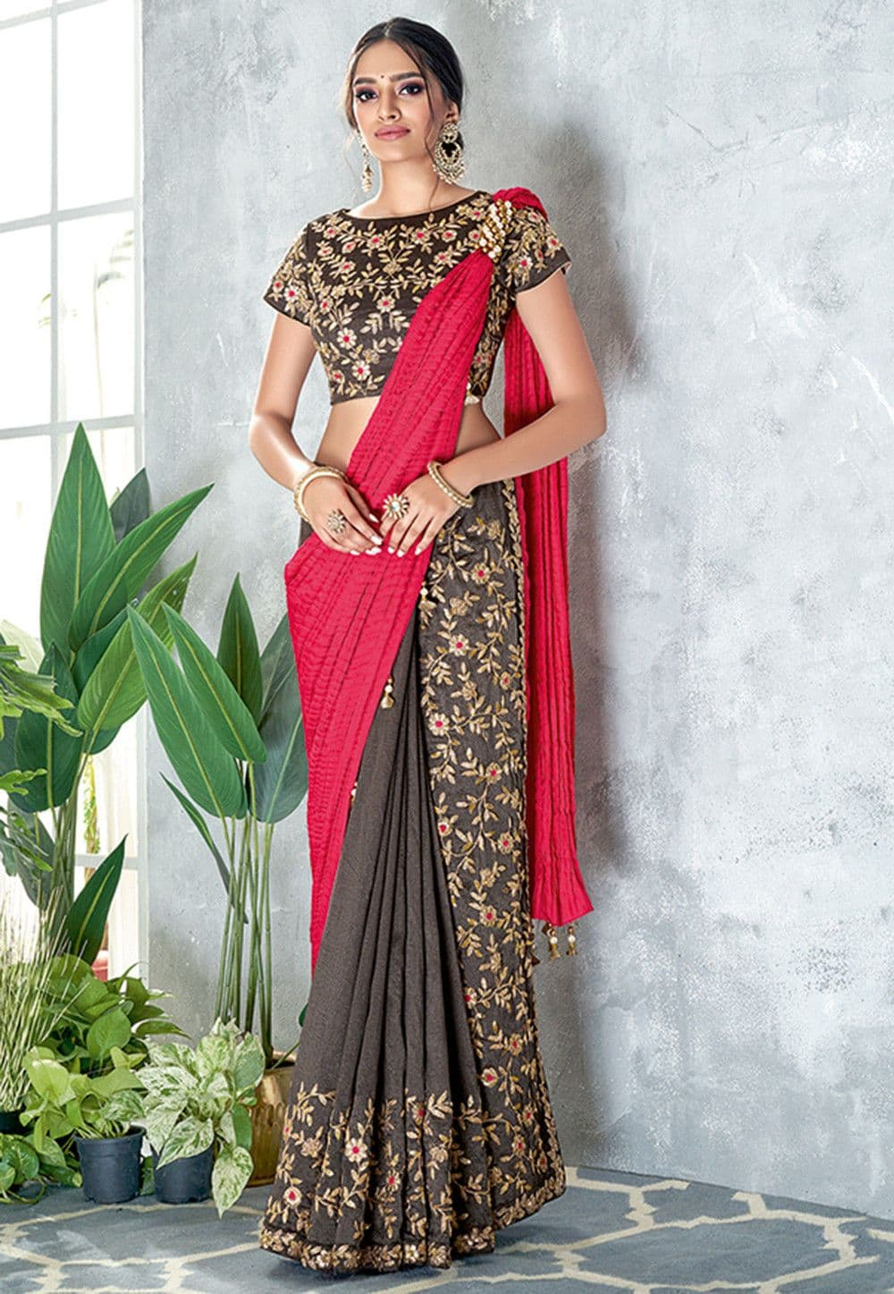 Butterfly Pallu Art Silk Pre-stitched Saree in Coral Red and Grey