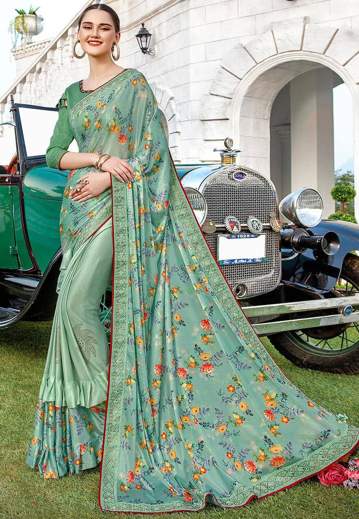 Half N Half Lycra Saree in Dusty Green