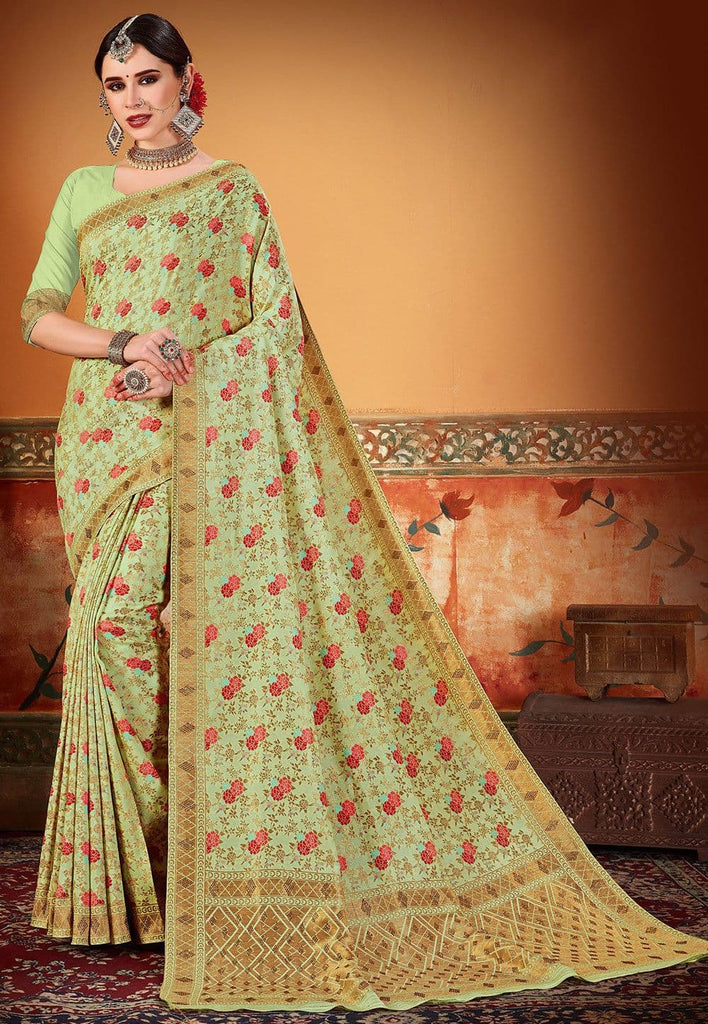 Woven Art Silk Saree in Pastel Green