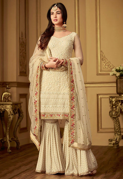 Embroidered Net Pakistani Suit in Off White