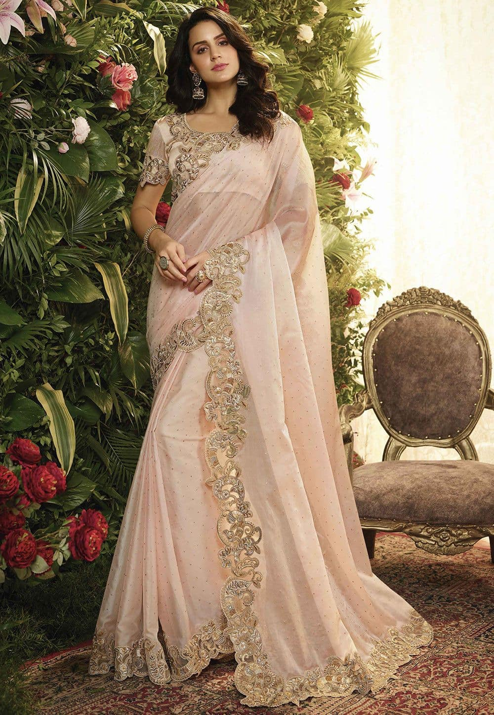 Embroidered Organza Saree in Baby Pink