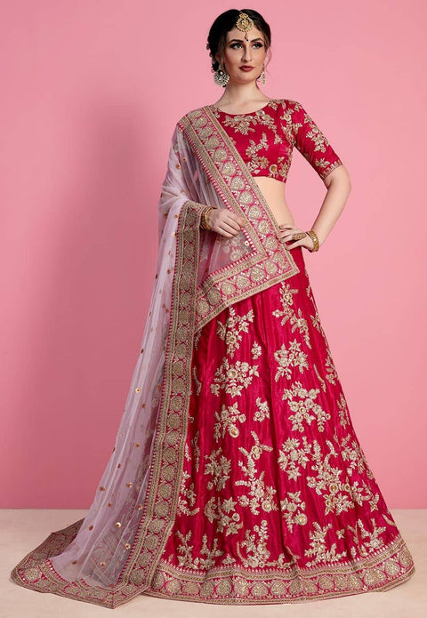 Embroidered Satin Lehenga in Fuchsia