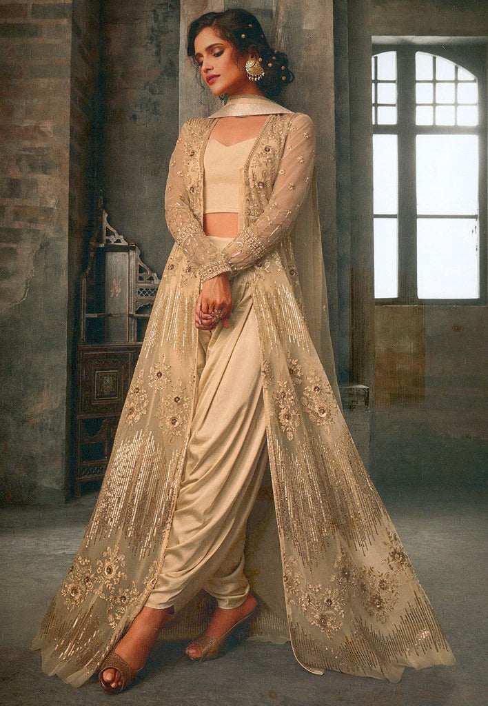 Embroidered Net Jacket Style Suit in Beige