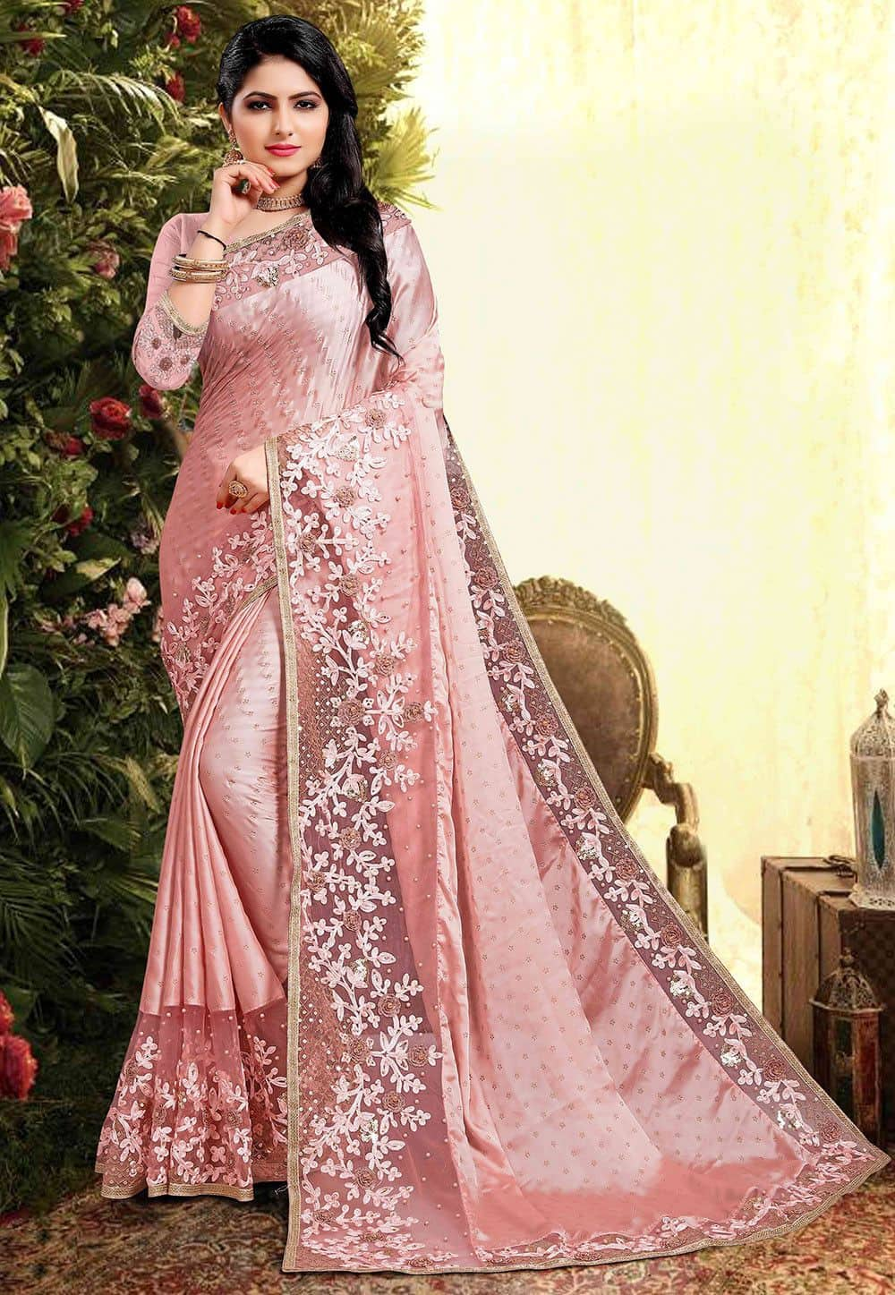 Embroidered Satin Georgette Saree in Pink
