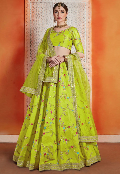 Embroidered Art Silk Lehenga in Neon Green