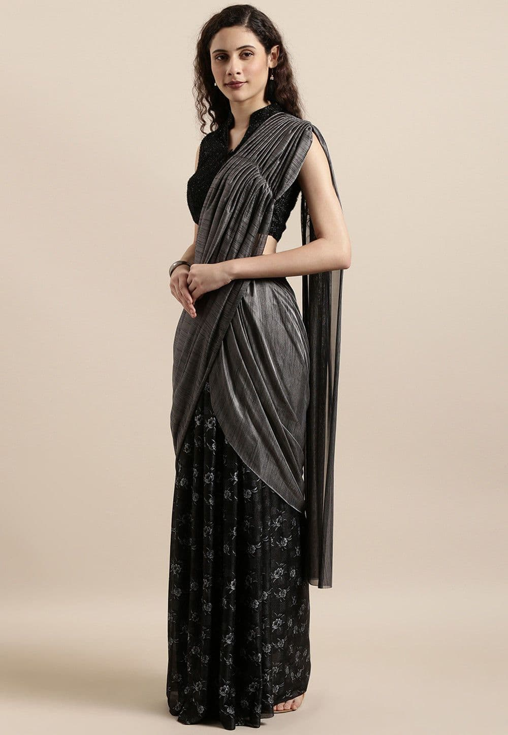 Pre-stitched Lycra Butterfly Pallu Saree in Grey and Black