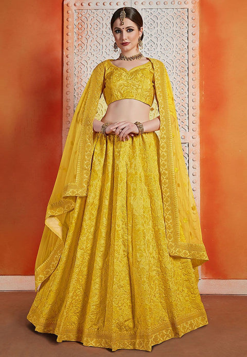 Embroidered Art Silk Lehenga in Yellow