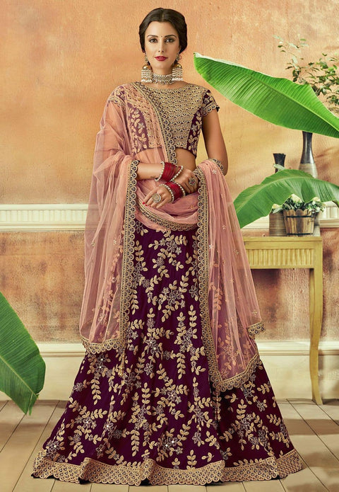 Embroidered Art Silk Lehenga in Wine