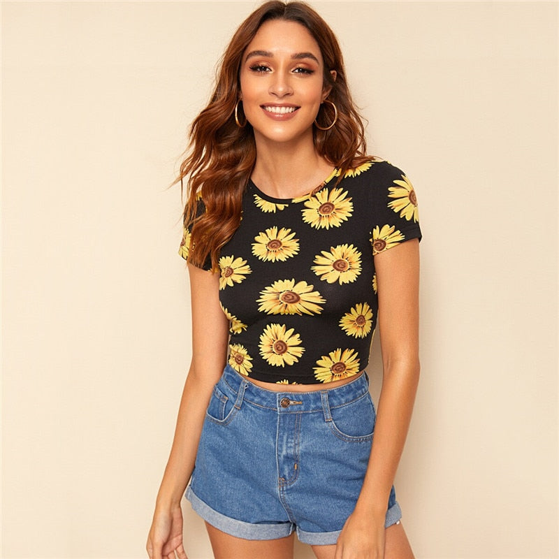 Sunflower Print Crop T Shirt Women Clothing Summer Slim Fit Round Neck Tshirt Casual Short Sleeve Black Ladies Tops