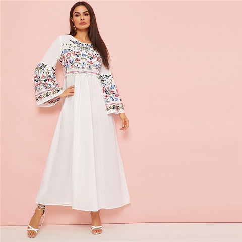 Abaya Flower Embroidered Frilled Trim Bell Sleeve Dress Women Spring Autumn Maxi White Dress Loose A Line Elegant Dresses