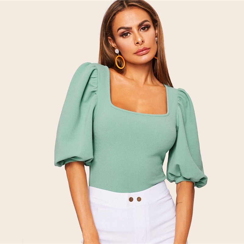Turquoise Puff Sleeve Solid Fitted Square Neck Tee T Shirt Women Summer 2019 Half Sleeve Elegant Workwear T-shirt Tops