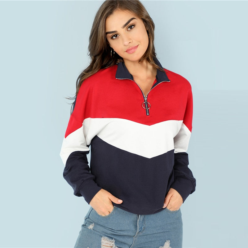 Multicolor Minimalist O-Ring Zip Front Cut And Sew Stand Neck Raglan Sleeve Sweatshirt Autumn Women Casual Pullovers