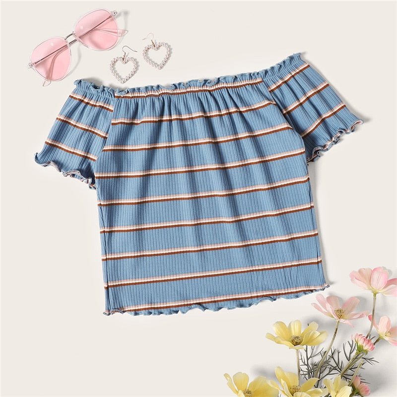 Lettuce Trim Rib-Knit Striped Crop Bardot Tee Blue Women Off the Shoulder Slim Fit Tops Summer Short Sleeve Tshirt