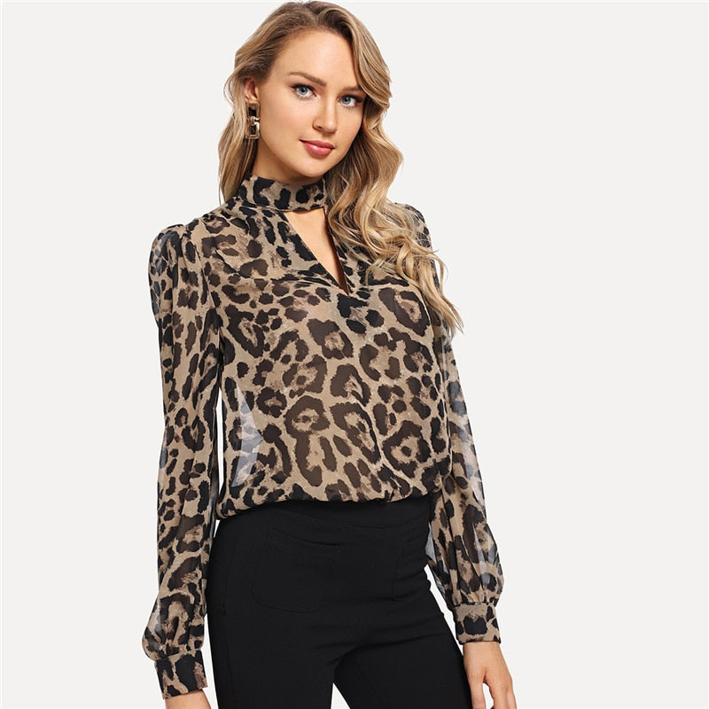 Multicolor Office Lady Choker Neck Leopard Print Cut Out Long Sleeve Blouse Autumn Workwear Fashion Women Tops And Blouses