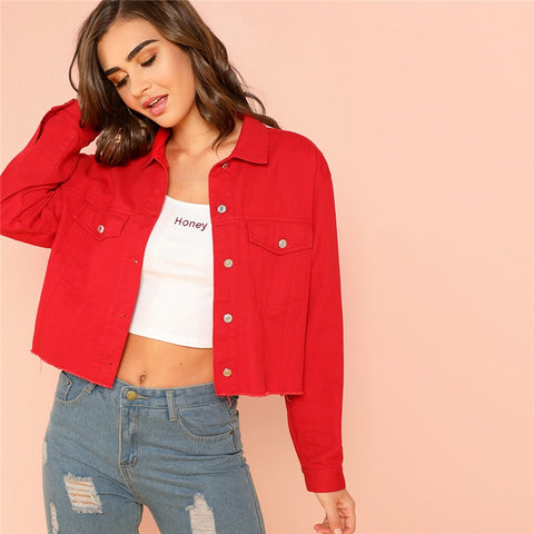 Red Solid Pocket Front Button Up Jacket Cotton Casual Plain Long Sleeve Single Button Coat Clothes Autumn Women Jacket