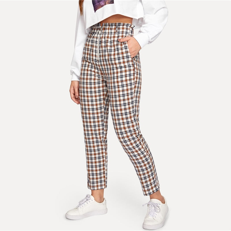 Multicolor Exposed Zip Fly Plaid Peg Straight Leg High Waist Cotton Fringe Pants 2018 Autumn Casual Workwear Trousers
