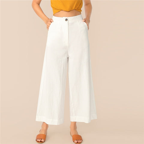 Button Zipper Front Wide Leg Crinkle Pants Women 2019 White Solid Mid Waist Trousers Office Lady Loose Ankle-Length Pants