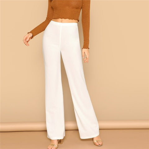 White High Waist Straight Leg Pants Office Lady Elastic Waist Long Trousers 2019 Women Spring Plain Workwear Pants