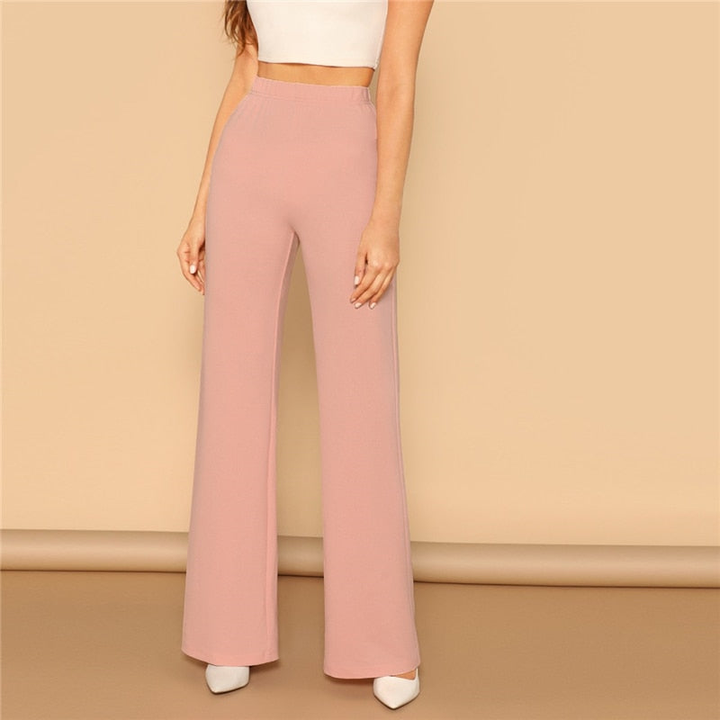 Pink Elastic High Waist Straight Leg Solid Long Pants Women Trousers Office Lady Spring Elegant Workwear Wide Leg Pants