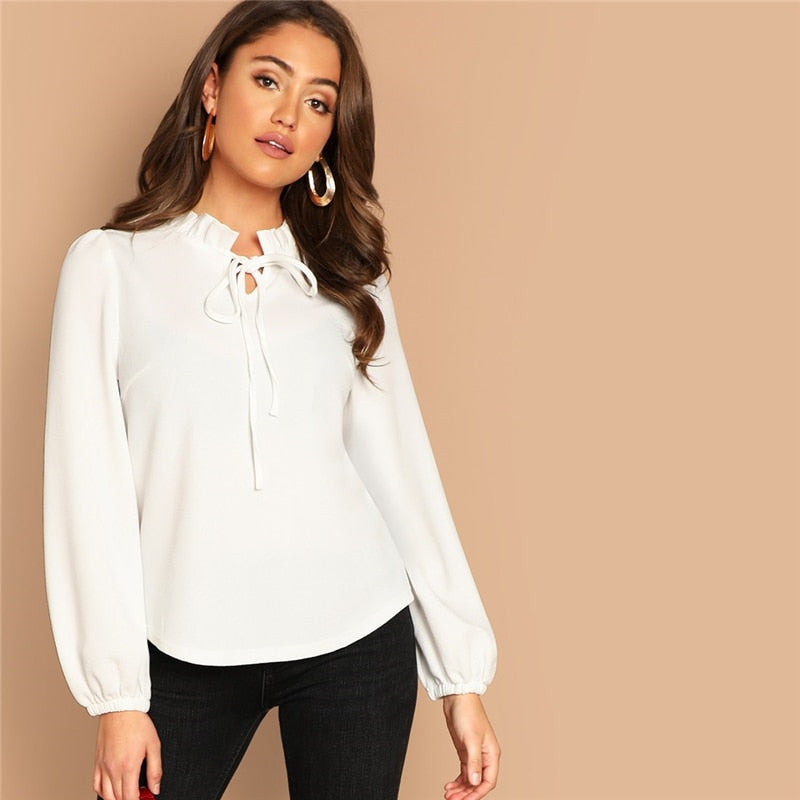 White Workwear Elegant Tie Neck Frill Trim Solid Long Sleeve Blouse Autumn Office Lady Casual Women Tops And Blouses