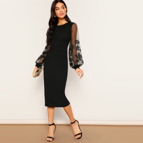 Black Embroidery Mesh Insert Stretchy Bishop Sleeve Fitted Knee Length Bodycon Dress Women 2019 Spring Sheath Dresses