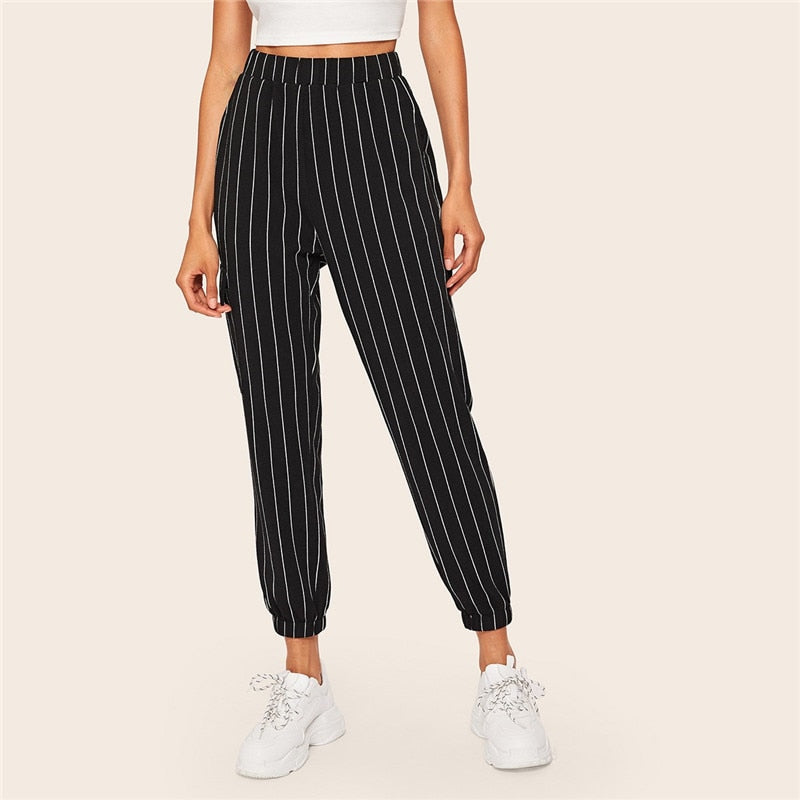 Slant Pocket Vertical Striped Pants Women Spring Casual Elastic Waist Trousers Black Regular Mid Waist Streetwear Pants