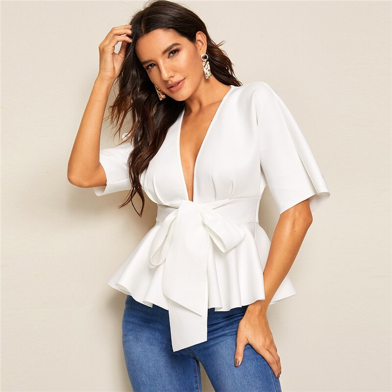 Plunge Neck Tie Waist Peplum Top White Solid Slim Fit Womens Tops and Blouses Sexy Deep V Neck Summer Short Sleeve Blouse
