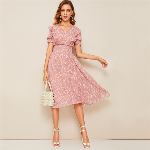 Pink Ruffle Trim Puff Sleeve Shirred Waist Summer Boho Dress 2019 Fit and Flare Dress Women Elegant Empire Long Dresses