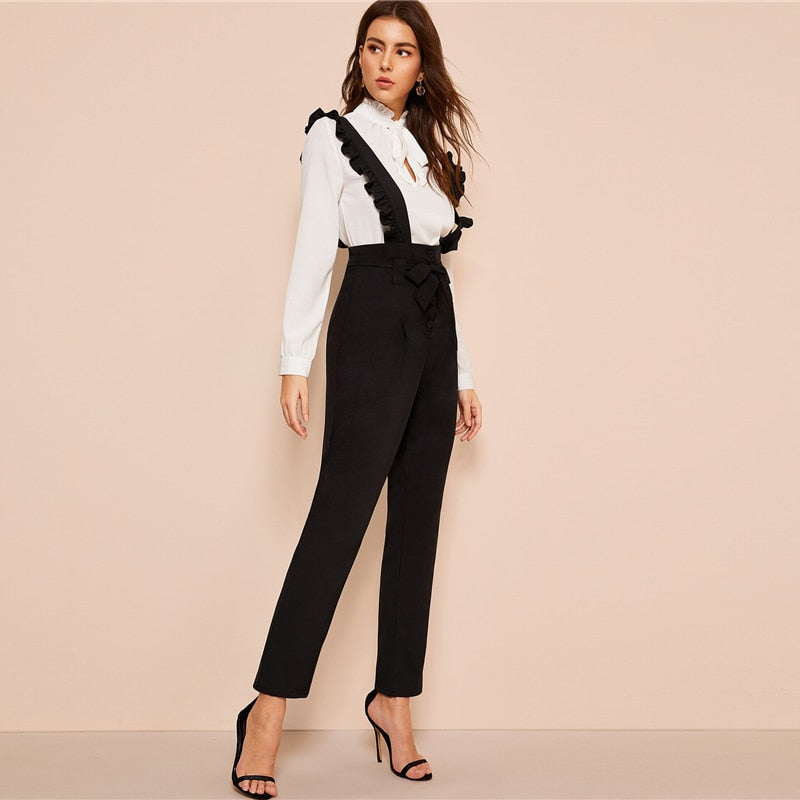 Office Lady Black Belted Button Fly Pants With Ruffle Straps Women Spring Autumn Solid Long Trousers Straight Leg Pants